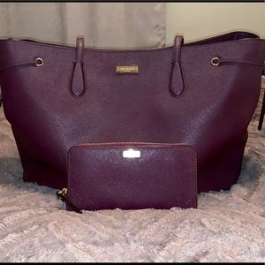 Kate Spade burgundy tote and wallet